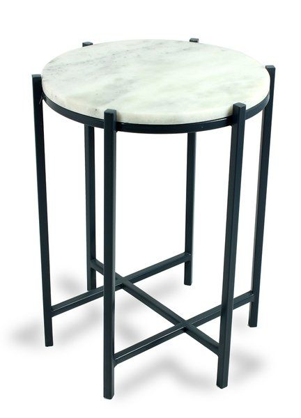 White on Black Side Table Marble Top Transitional Free Ship New