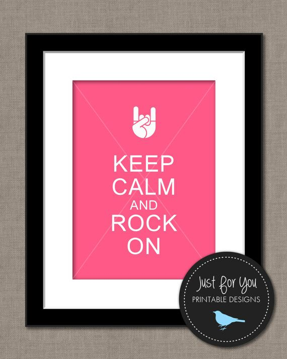 Music Wall Art - Keep Calm and Rock On - Hot Pink - Rock and Roll - YOU PRINT - 8x10 Printable Typography Poster, Print, Sign