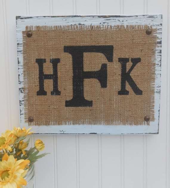 Burlap Monograms LETTERs Sign Letter YOUR by OldAndNewShoppe, $36.00