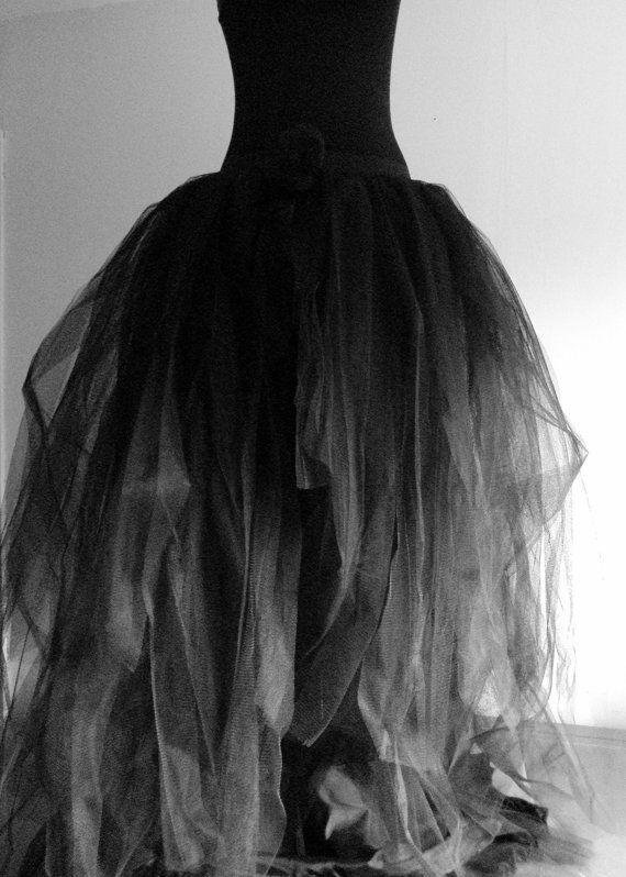 Black Tulle Skirt Halloween Goth Steampunk  by thetutustoreuk, $175.00