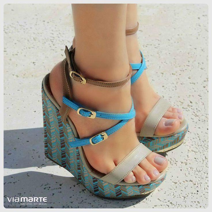 salto anabela - sandália - azul - Ref. 14-13656 - verão 2015