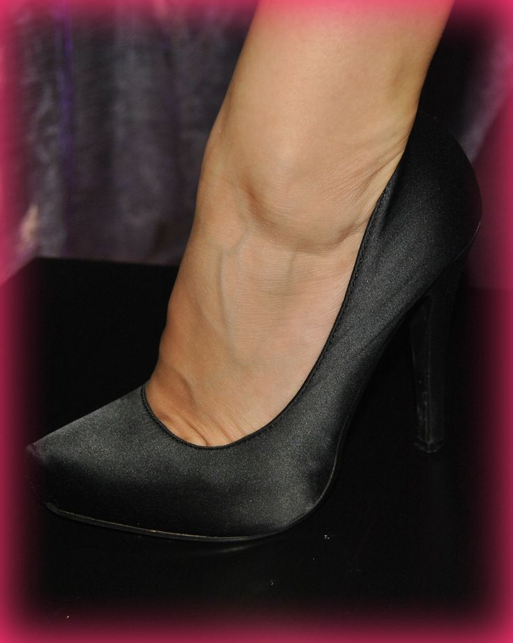black satin high-heel