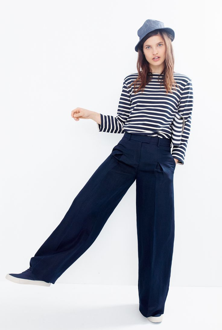 J.Crew Looks We Love: Saint James® unisex Meridien II nautical T-shirt, women's Collection wide-leg pant in silk-linen, bucket hat, striped leather envelope clutch and SeaVees® for J.Crew Legend sneakers.
