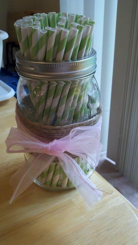 Mason Jar Straw Holder :  wedding ceremony diy green inspiration lantern mason jar pink reception straw holder twine Mail