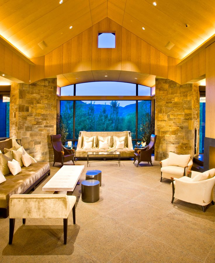 Contemporary Colorado estate living room with mountain views (Aspen, CO | Shane Aspen Real Estate)