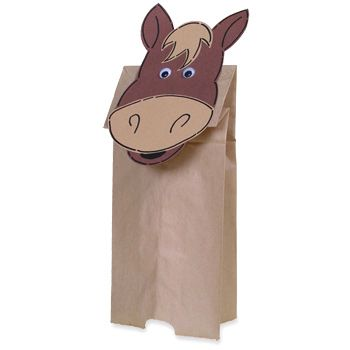 "Paper Bag Horse Puppet (Horse-Face) Craft with horse themed storytime - reading ""Horseplay!"""