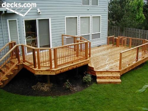 How I want new deck to look...just one adjustment, screen porch on upper level. Even looks like the back of my house?!