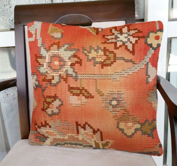 Decorative Pillow Cover from Turkish Kilim Rug Old by OtantikArt