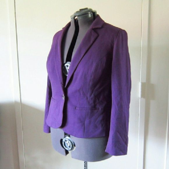 Dark purple blazer fits size 16/18 A dark purple blazer that is perfect for the office or classing up a casual outfit. Brand new with tags. Comes with extra button. Never worn except to try on. Fully lined. Sleeves can accommodate larger upper arms easily. Tags say size 16 but can fit 18 easily as well. Lane Bryant Jackets & Coats Blazers