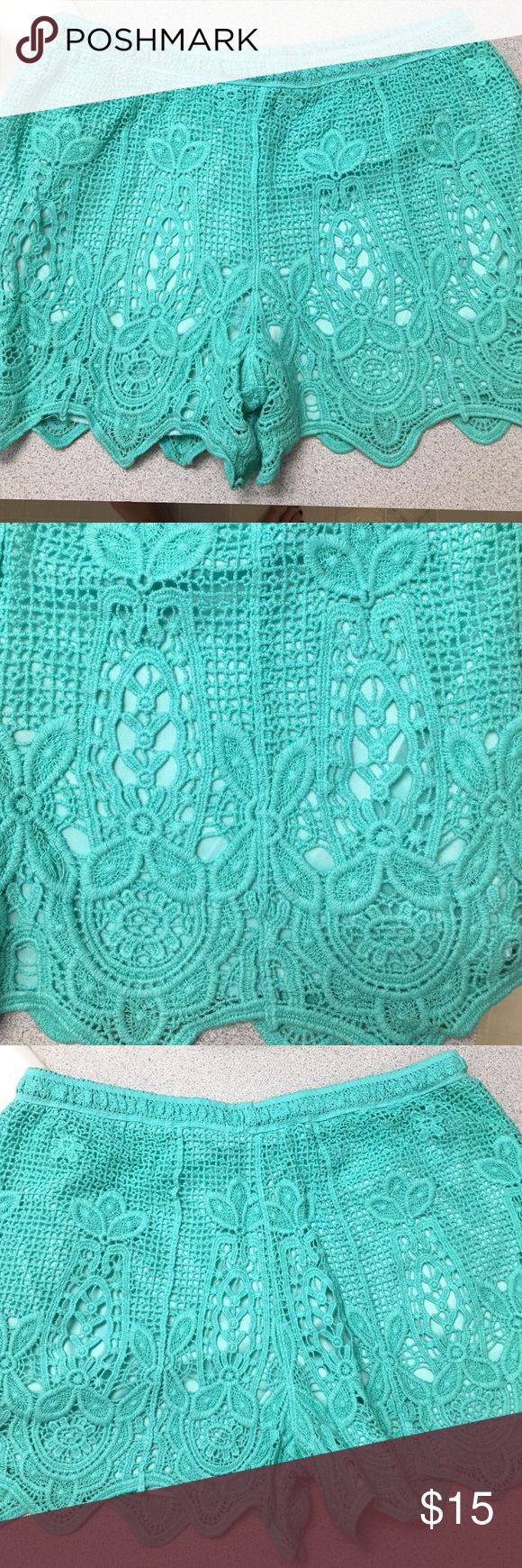 Lace turquoise blue shorts Beautiful lace turquoise shorts size L. Never been worn. verty Shorts
