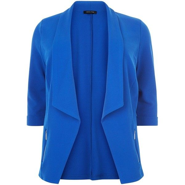 New Look Curves Blue Zip Pocket Blazer ($33) ❤ liked on Polyvore featuring outerwear, jackets, blazers, blue, open front jacket, blazer jacket, blue blazer, lapel jacket and open front blazer