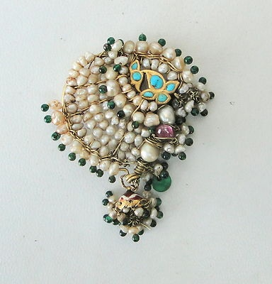Vintage antique ethnic tribal solid 22K Gold pearl jewelry NOSE RING (nath) Ind