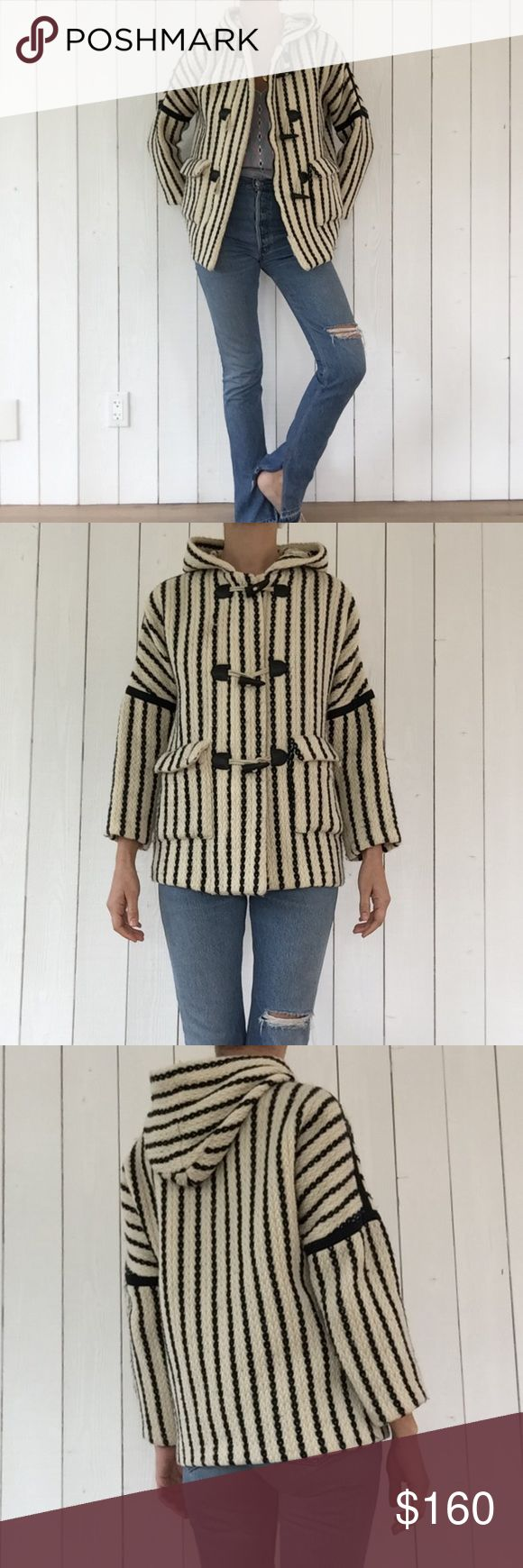 Vintage Anna Sui Jacket Adorable dark navy and cream striped Anna Sui jacket with hood. Slightly cropped sleeve and a relaxed fit. Zipper and toggle button closures, unlined. Good used vintage condition. Tag says 2 which I'm calling a M. Assuming it was sizing 1,2,3. Anna Sui Jackets & Coats