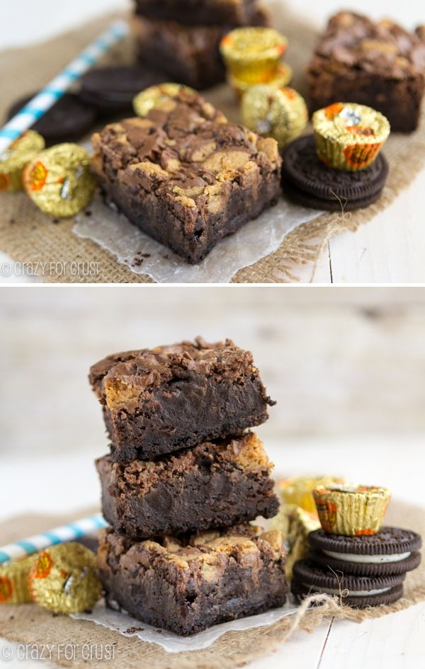 Reese's Brownies with Oreo Crust - the BEST brownie ever!