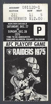 1975 NFL AFC DIVISIONAL PLAYOFF BENGALS @ OAKLAND RAIDERS FOOTBALL TICKET STUB