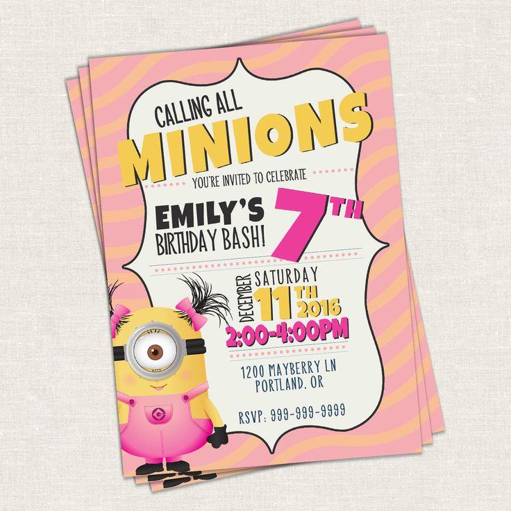 Minion Birthday Invitation // Kid Birthday Invitation //  Minion's Birthday - Printable Template by jdawsDesign on Etsy https://www.etsy.com/listing/492357309/minion-birthday-invitation-kid-birthday