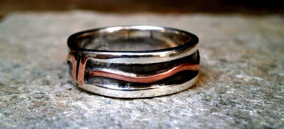 Unisex sterling silver with copper oxidized  handmade artisan