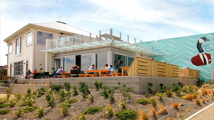 Spruce Goose has become a feature of the Lyall Bay beachfront ... just by Wellington Airport.   http://architecturehdt.co.nz/hospitality/