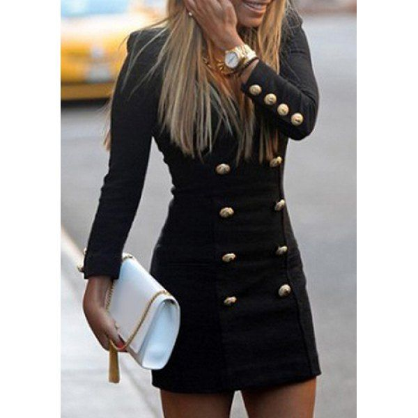 Fashionable Round Neck Solid Color Double-Breasted Long Sleeve Women's Dress, AS THE PICTURE, ONE SIZE(FIT SIZE XS TO M) in Dresses 2014 | DressLily.com