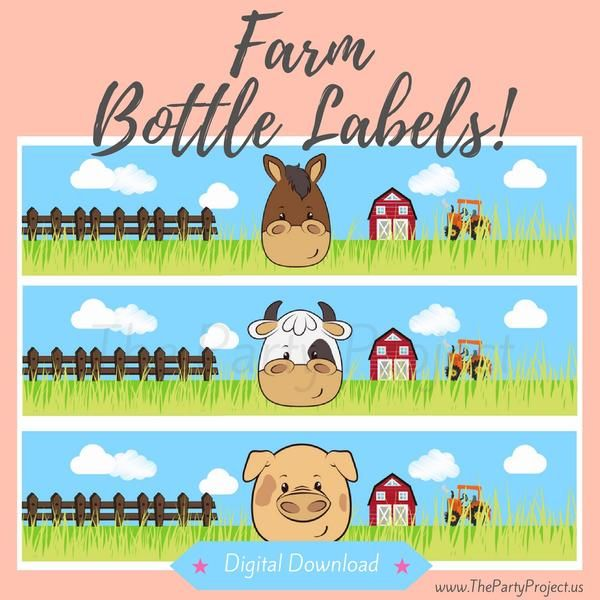 I N S T A N T • D O W N L O A D  Get your overalls readyand throwa Farm-tasticparty with our exclusiveFarmparty- bottle labelPrintables!  Whether you are planning aFarm birthday, aFarmhousethemed baby shower or even abarnyard bashevent,these adorable water bottle labels with your little farmer's favoritebarn friends will make your special celebration stand out!