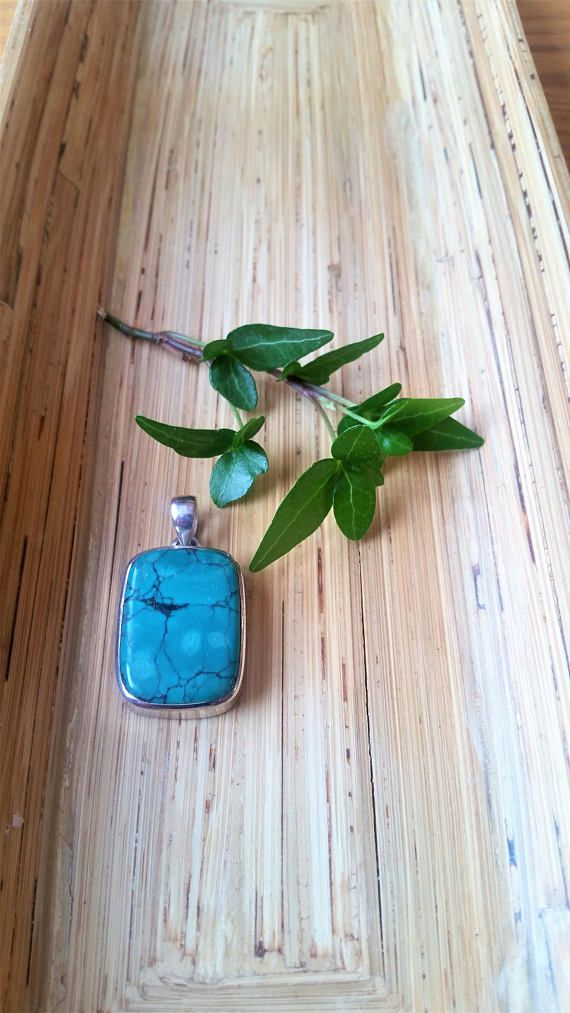 Vintage green/blue genuine Turquoise in 925 silver pendant