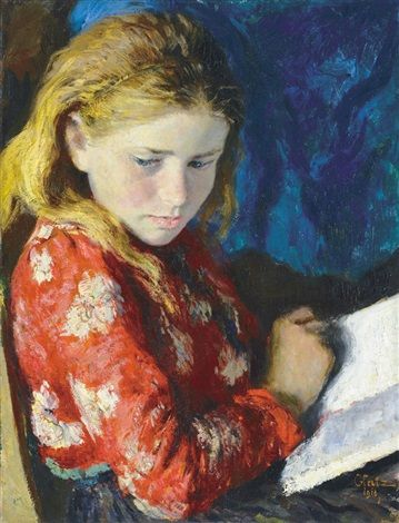Olvasó lány by Oszkár Glatz