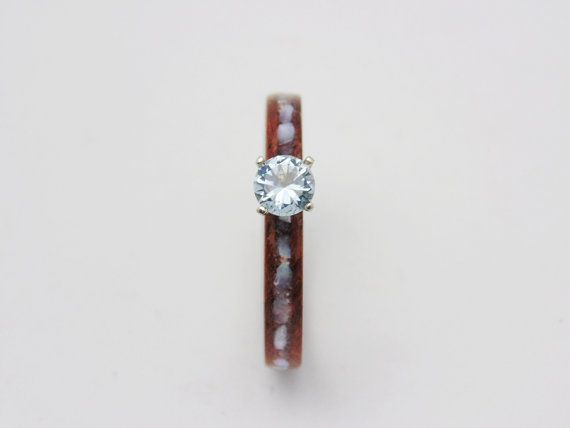 Handmade wood Engagement ring waterfall Bubinga with Auqamarine set in white gold pearl inlay promise ring
