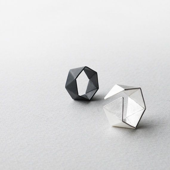 This geometric ring is handcrafted of sterling silver. It comes in brushed silver finishes. The faceted surface makes it reflect beautifully with light. Very minimalist style and comfortable to wear. Perfect for everyday wear, even gift for special one! The ring suits both women and men.  The Hexagon rings come in different sizes:  - size XS : ring band is 0.75 cm. width, approximately UK-J, US-4.5 - size S : ring band is 0.8 cm. width, approximately UK-K, US-5.5 - size M : ring band is 1.0…