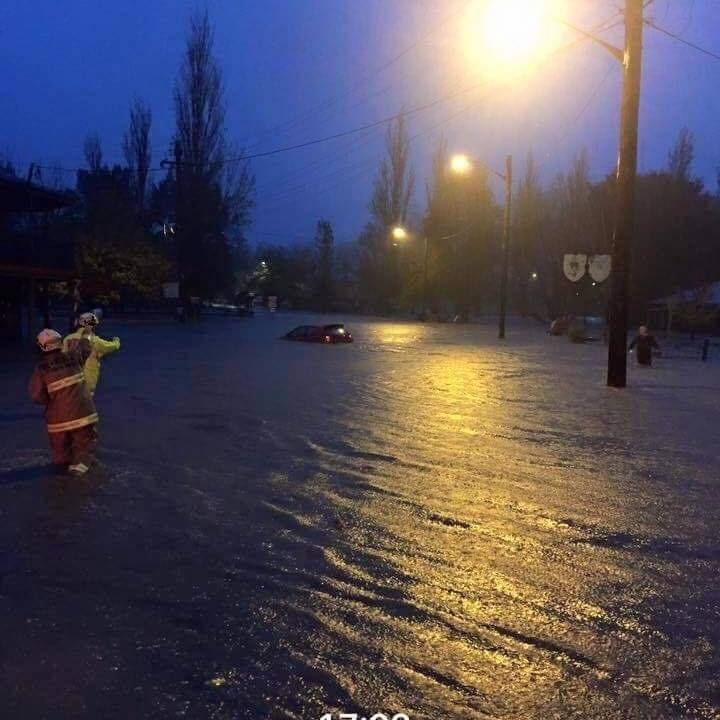 Picton Floor 6th June 2016  Main street ... Argyle Street under water ..  all the shops in the main street flooded. Local Pub .. George IV Hotel sign visible on the right