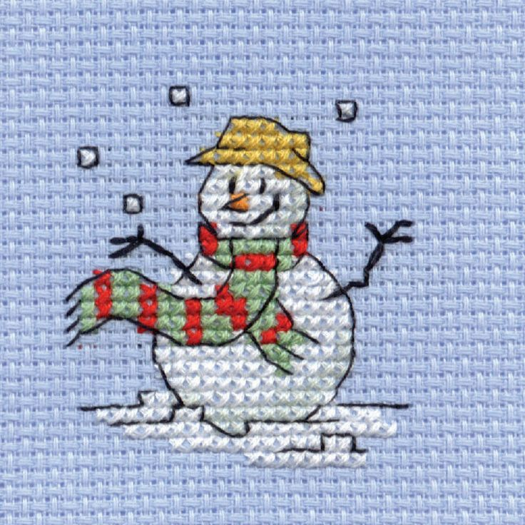 Hobbycraft Mini Cross Stitch Christmas Snowman This kit contains all you need to create a beautiful mini cross stitch of a cute snowman juggling snowballs. The finished piece is perfect for cards, decorations and mini frames. This kit contains: Aida fabric (14 hpi) Embroidery threads Needle and full charted instructions Finished size: 64 mm x 64 mm 3 FOR 2 Kit offer. ;) Mo