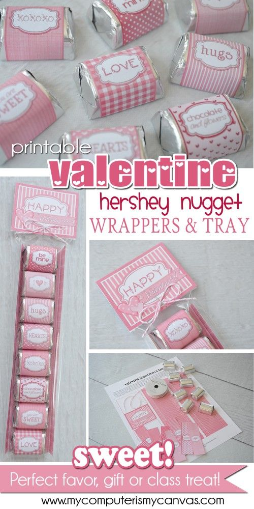 PRINTABLE Valentine Hershey Nugget Wrappers... with tag and printable tray. CUTE!!! #mycomputerismycanvas