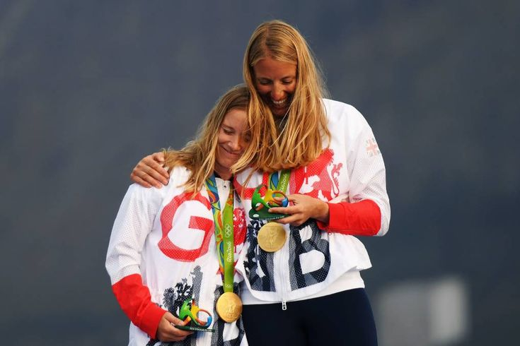 Hannah Mills (left) of Great Britain and Saskia Clark of Great Britain celebrate…