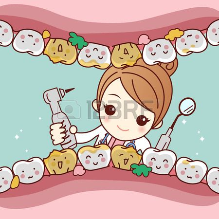 Happy cartoon tooth friend with dentist doctor and her equipment tool, great for health dental care concept