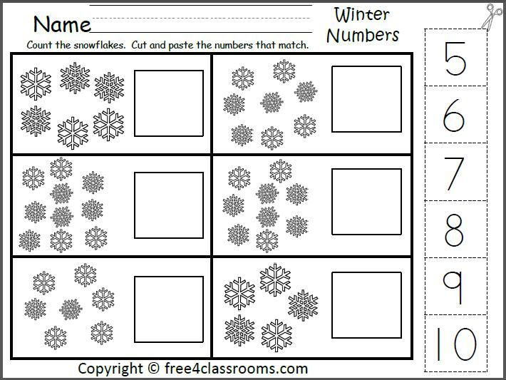 Winter Number Matching Worksheet for the numbers 5 to 10 (cut and paste). Count the snowflakes and cut and paste the numbers that match.