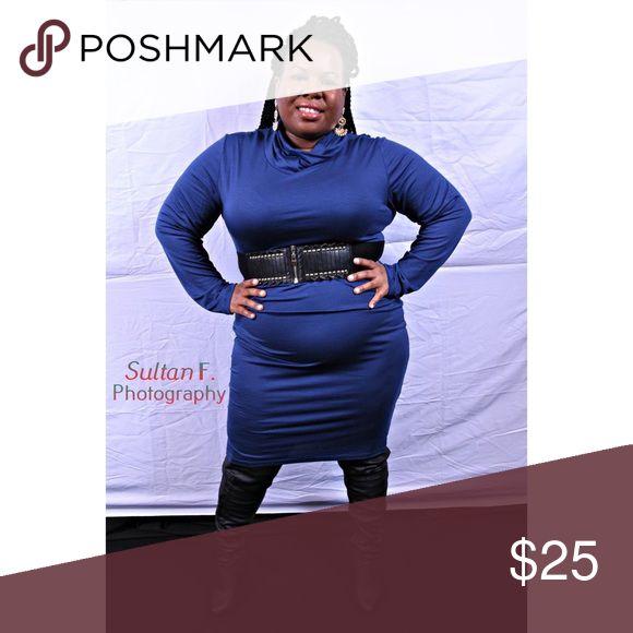 Navy Turtleneck Dress Size (18W) Plus Size Solid long Sleeve Turtleneck Plus Size (18W) Bodycon Dress Dresses Midi
