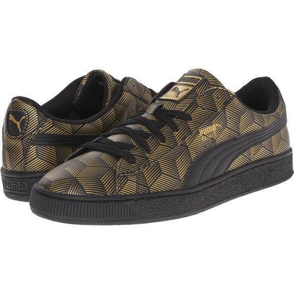 PUMA Basket Classic Metallic (Black) Men's Basketball Shoes ($43) ❤ liked on Polyvore featuring men's fashion, men's shoes, black, men's low top shoes, mens black shoes, cat mens shoes, mens metallic shoes and puma mens shoes