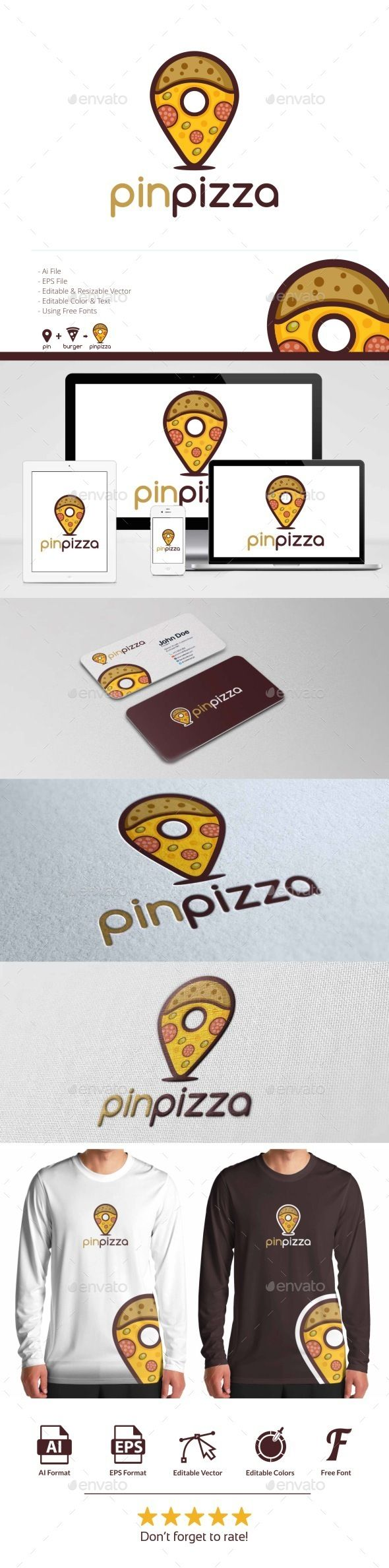 Pin Pizza Logo Template Vector EPS, AI. Download here: http://graphicriver.net/item/pin-pizza-logo/12053008?ref=ksioks