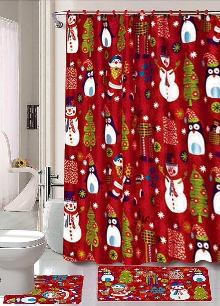 Merry Christmas time Season/'s Greetings 15 Piece Shower curtain Set