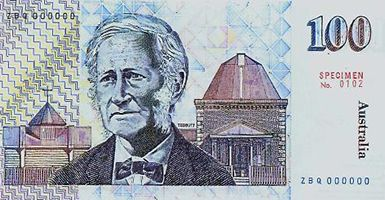 Australia's first $100 note, issued in 1984, featured one of the Hawkesbury's most famous sons. John Tebbutt (1834–1916) was a pioneer astronomer who helped to lay the foundations for Australia's involvement in astronomy with the discovery of major comets. His portrait appears with images of his observatory at Windsor, and elements to symbolise the sky and comets.