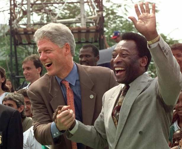 U.S. President Bill Clinton and Brazilian Soccer Legend Pelé in Rio de Janeiro - Oct. 15, 1997