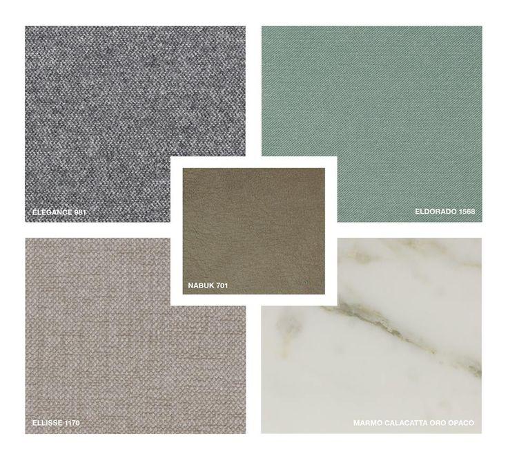 Marble: Calacatta oro matt Leather: Nabuk 701 Fabrics: Elegance 981, Ellisse 1170 Velvet: Eldorado 1568
