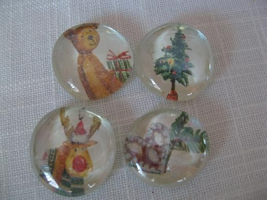 xmas glass magnets