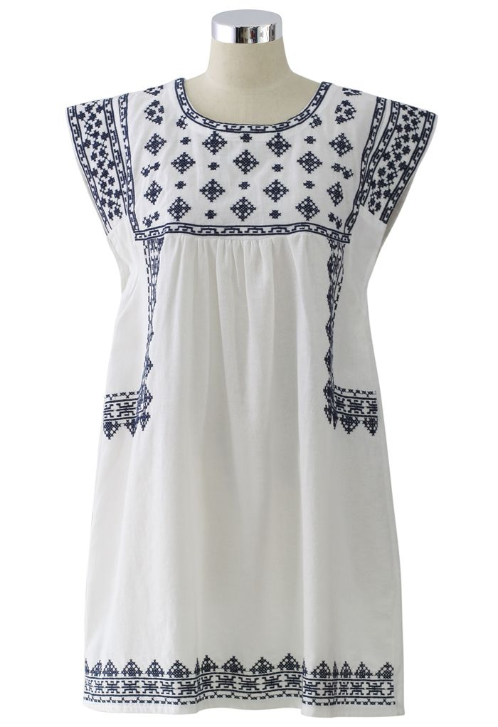 Ceramic Blue Cross-Stitch Dress