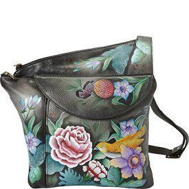 Anuschka Hand Painted Asymmetric Slim Crossbody, Vintage Bouquet    Trendy, Cute and Luxurious Hand Painted Leather Purses      Hand painted leather purses are truly eye-catching, unique and cool.  In fact they are currently trending like crazy!  Obviously when you combine beautiful hand painted art, on fine quality leather the result is a timeless and charming creation just for you.