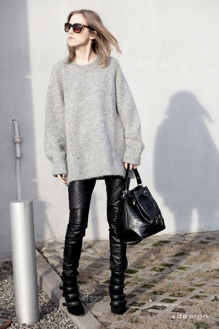 a cup of ideas: szary sweter i skórzane spodnie