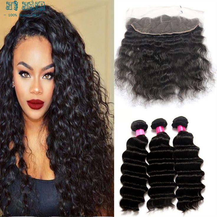 8aブラジル深い毛3バンドルで13 × 4前頭レース髪黒人女性の深い波アリ真珠髪ナチュラルブラックケラチン