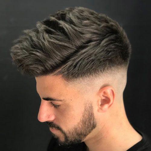 Textured Spiky Hair + High Bald Fade + Full Beard