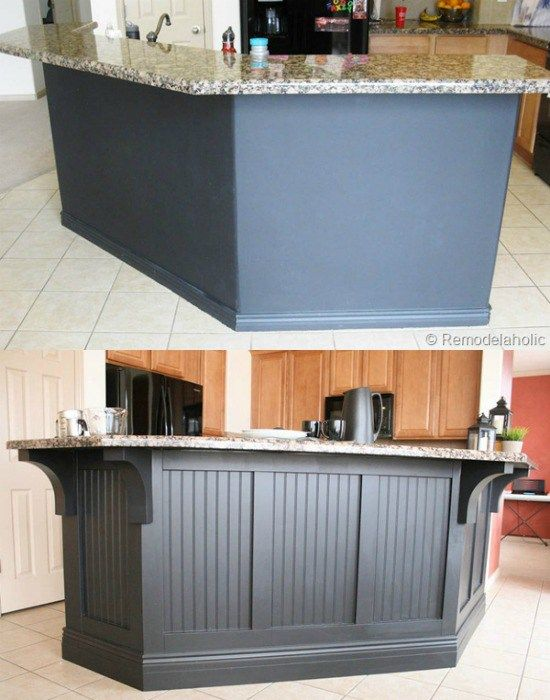 Before After Black Board And Batten Kitchen Island Update With