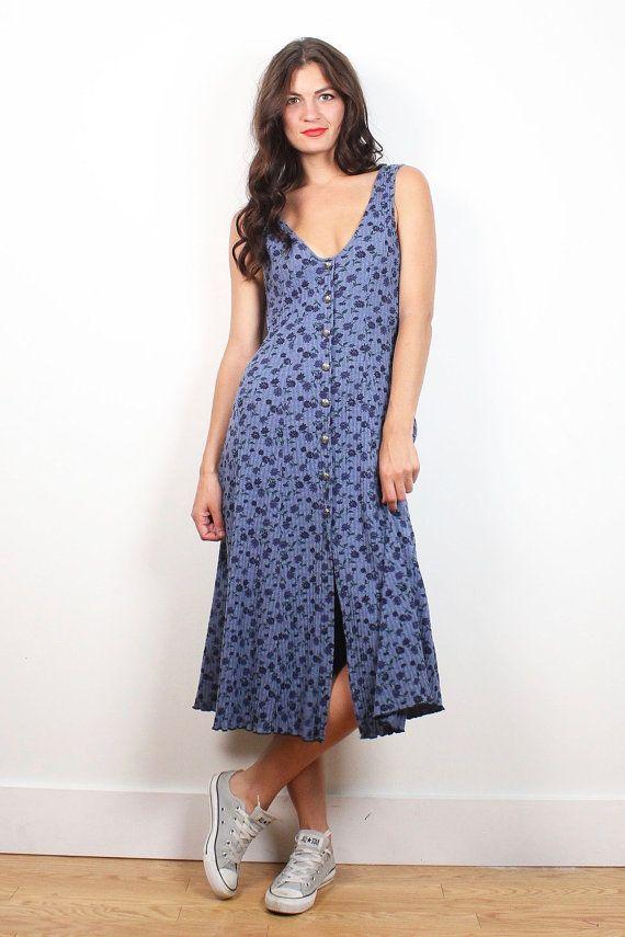 Vintage Soft Grunge Dress Blue Liberty Floral Print Midi Dress Deep V Neck Textured Ribbed 90s Dress Boho Sundress 1990s Dress XS S Small M #1990s #90s #soft #grunge #floral #sundress #midi #dress #etsy #vintage