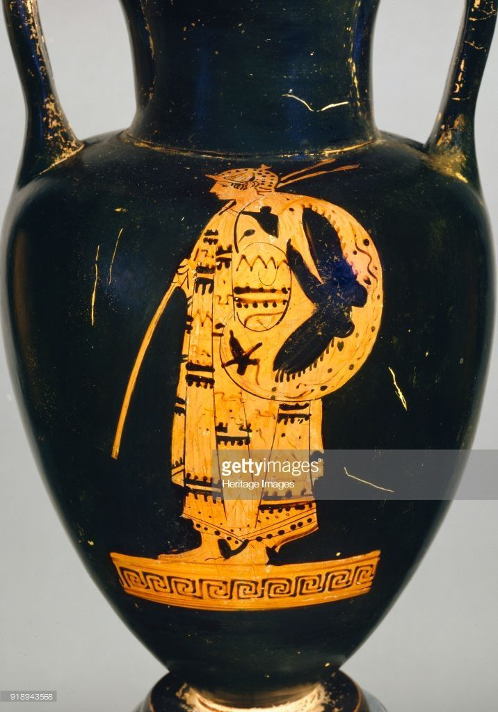 Attic red-figure Nolan -amphora showing an armed Thracian warrior... |  Ancient greek pottery, Greek pottery, Historical armor